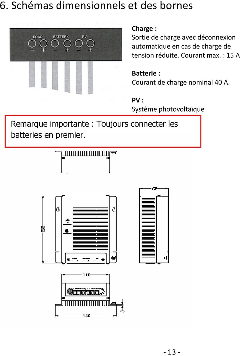: 15 A Batterie : Courant de charge nominal 40 A.