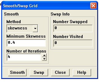 Figure 3.7 - Vérification du maillage sous Fluent 3.3.3. Lissage du maillage (Smooth and swap the grid) : Grid Smooth/Swap.