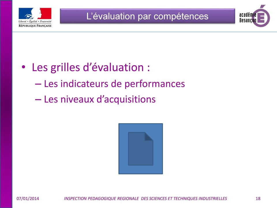 niveaux d acquisitions 07/01/2014 INSPECTION