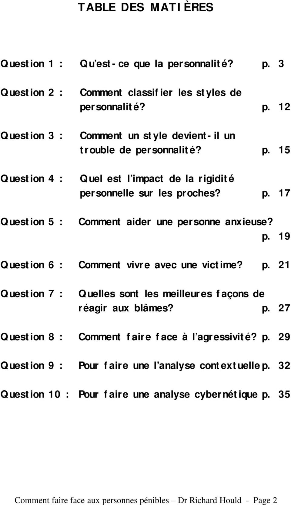 p. 27 Question 8 : Comment faire face à l agressivité? p. 29 Question 9 : Pour faire une l analyse contextuelle p. 32 Question 10 : Pour faire une analyse cybernétique p.