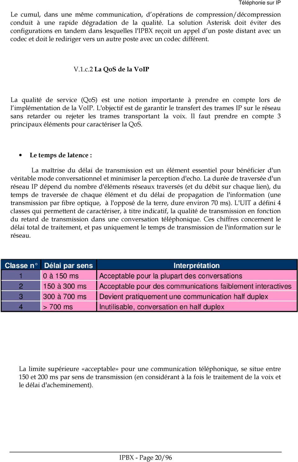 Téléphonie sur IP Le cumul, dans une même communication, d opérations de compression/décompression conduit à une rapide dégradation de la qualité.