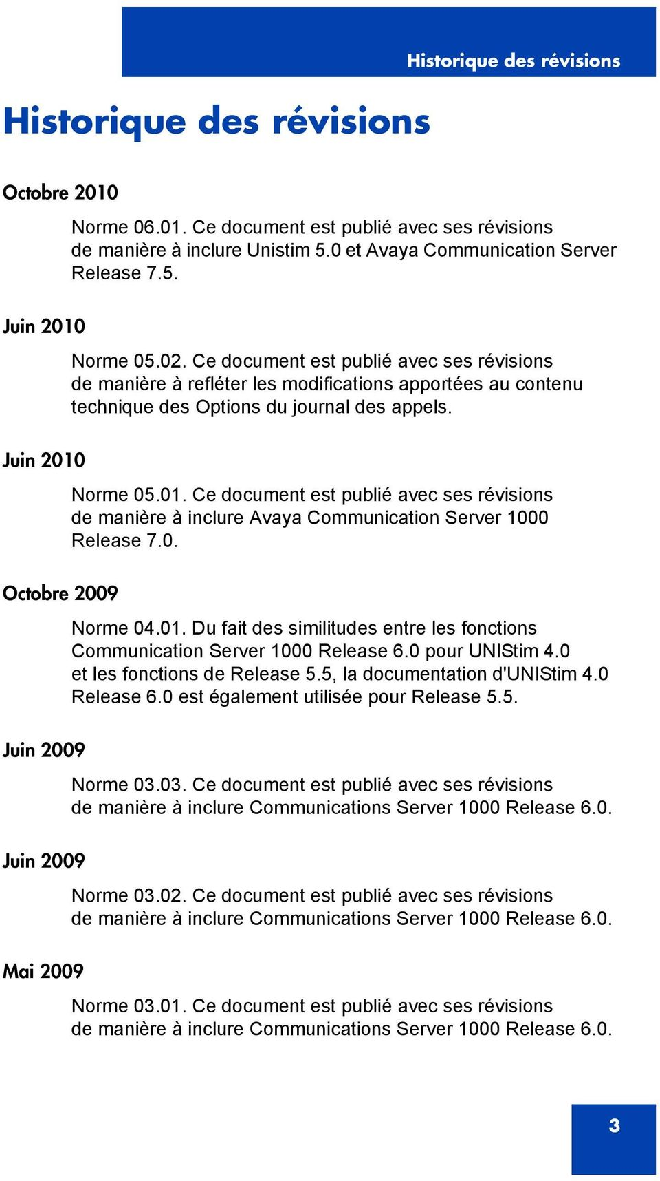 Norme 05.01. Ce document est publié avec ses révisions de manière à inclure Avaya Communication Server 1000 Release 7.0. Octobre 2009 Norme 04.01. Du fait des similitudes entre les fonctions Communication Server 1000 Release 6.