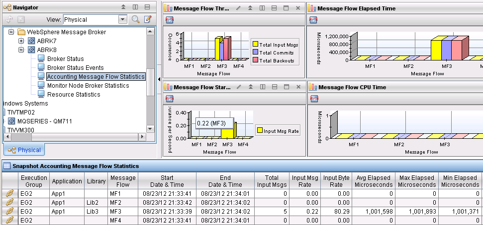 Workspace Snapshot Accounting Message Flow Statistics This workspace is designed to show the dynamic information about the runtime behavior of a message flow.