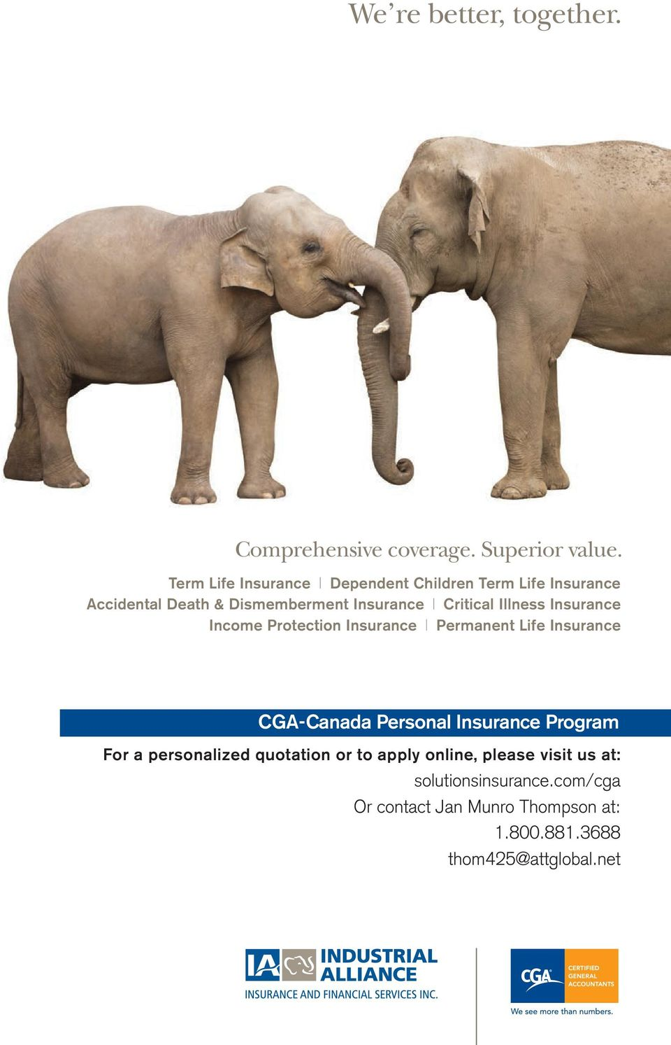 Illness Insurance Income Protection Insurance Permanent Life Insurance CGA-Canada Personal Insurance Program