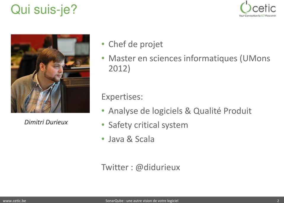 (UMons 2012) Dimitri Durieux Expertises: Analyse