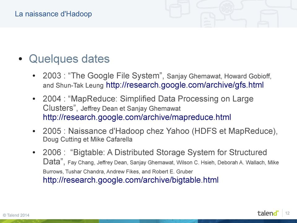 html 2005 : Naissance d'hadoop chez Yahoo (HDFS et MapReduce), Doug Cutting et Mike Cafarella 2006 : Bigtable: A Distributed Storage System for Structured Data, Fay