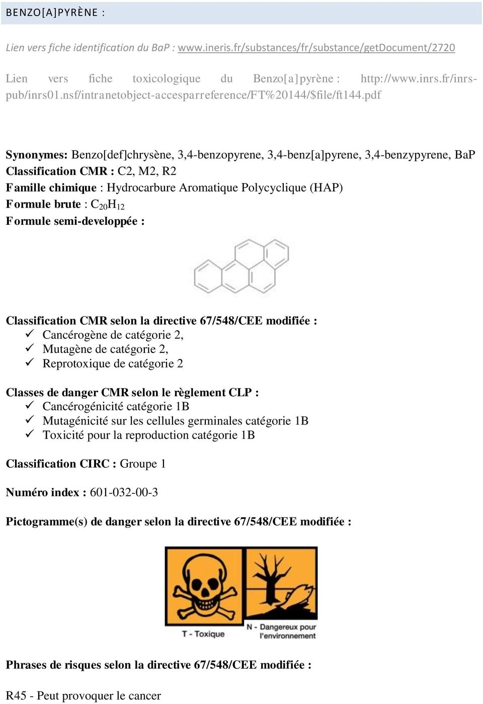 pdf Synonymes: Benzo[def]chrysène, 3,4-benzopyrene, 3,4-benz[a]pyrene, 3,4-benzypyrene, BaP Classification CMR : C2, M2, R2 Famille chimique : Hydrocarbure Aromatique Polycyclique (HAP) Formule brute