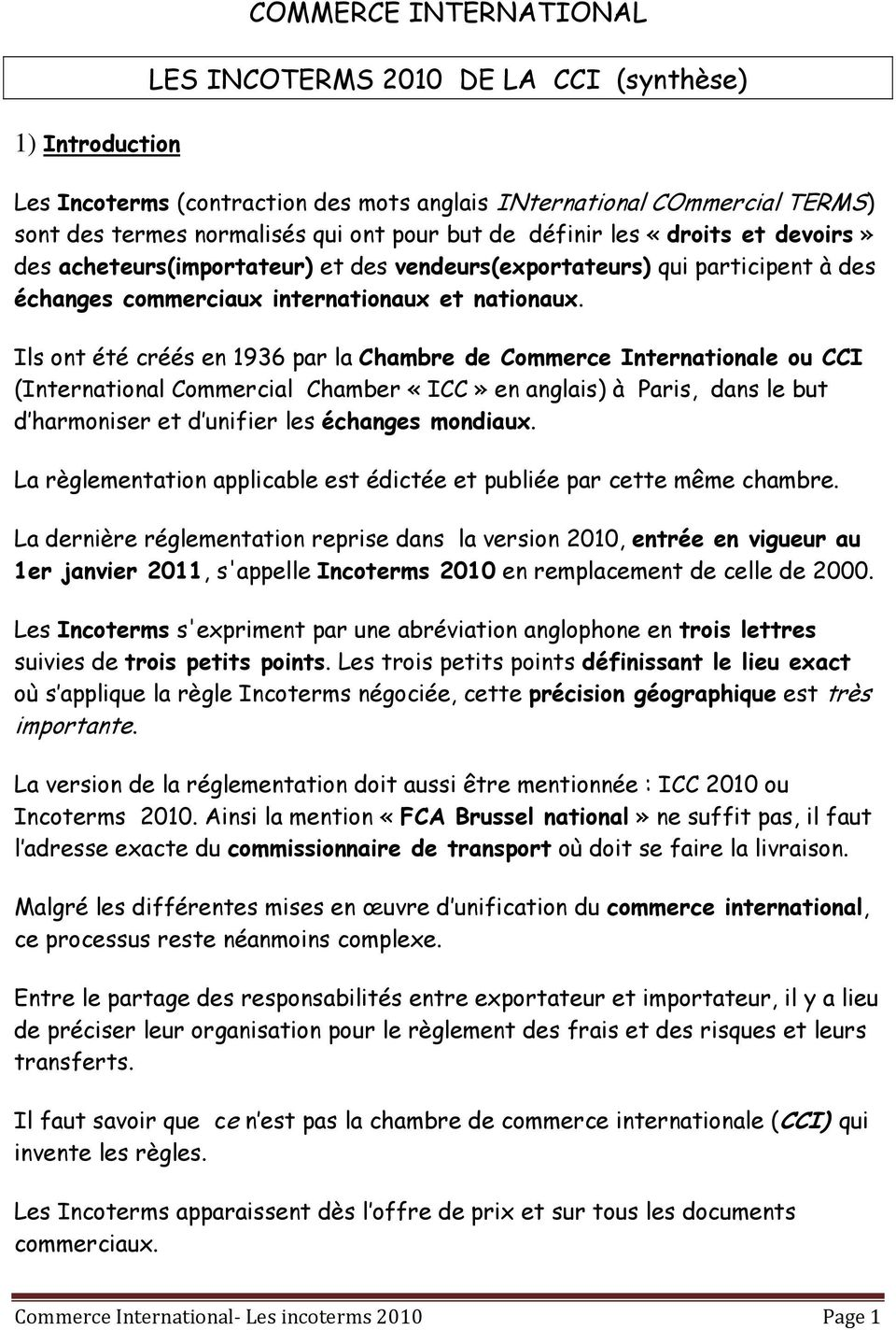 Commerce international les incoterms 2010 de la cci synth se pdf - Chambre de commerce de paris adresse ...
