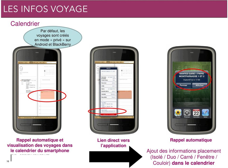 calendrier du smartphone 16 Lien direct vers l application Rappel automatique