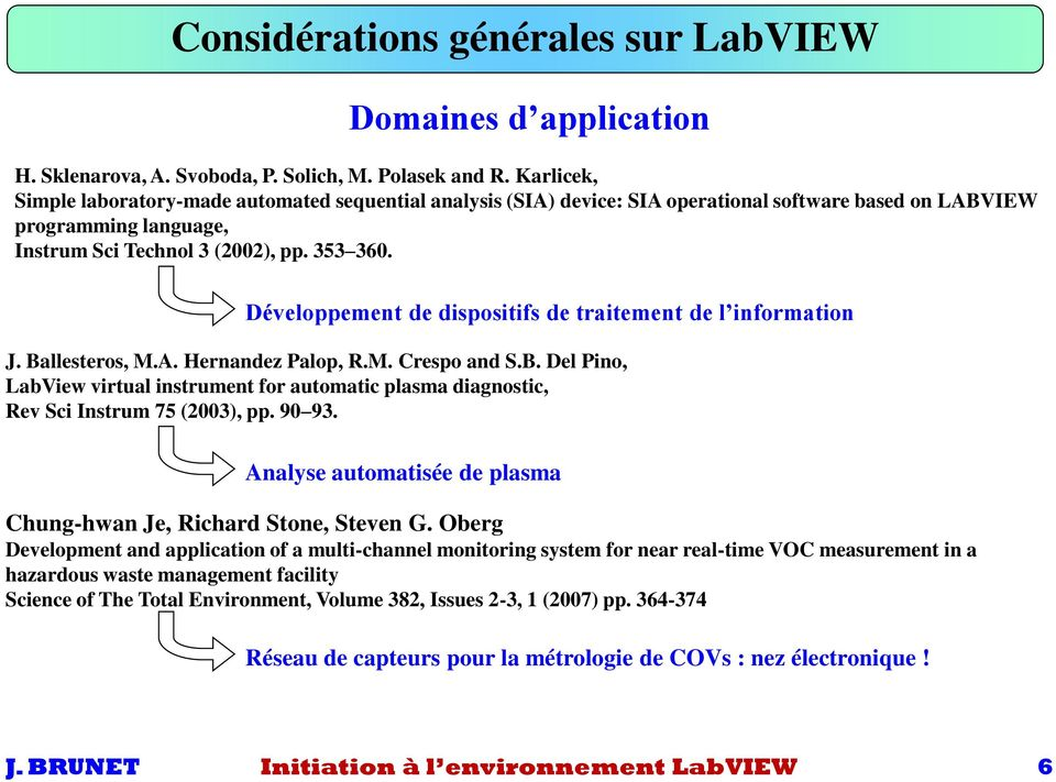 Développement de dispositifs de traitement de l information J. Ballesteros, M.A. Hernandez Palop, R.M. Crespo and S.B. Del Pino, LabView virtual instrument for automatic plasma diagnostic, Rev Sci Instrum 75 (2003), pp.