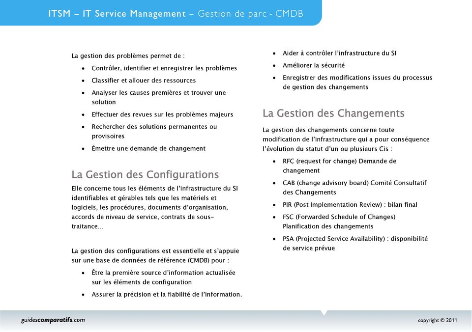 identifiables et gérables tels que les matériels et logiciels, les procédures, documents d organisation, accords de niveau de service, contrats de soustraitance La gestion des configurations est