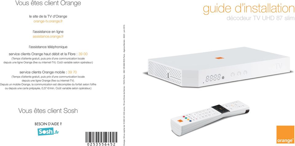 Guide d installation vous tes client orange vous tes - Installation decodeur tv orange ...