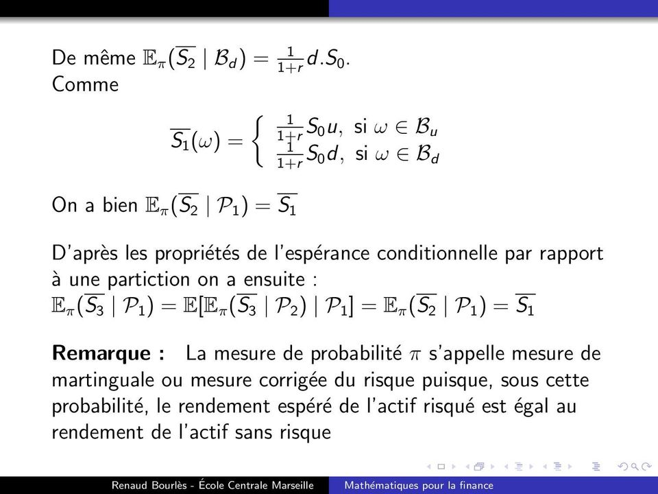espérance conditionnelle par rapport à une partiction on a ensuite : E π (S 3 P 1 ) = E[E π (S 3 P 2 ) P 1 ] = E π (S 2 P 1 )