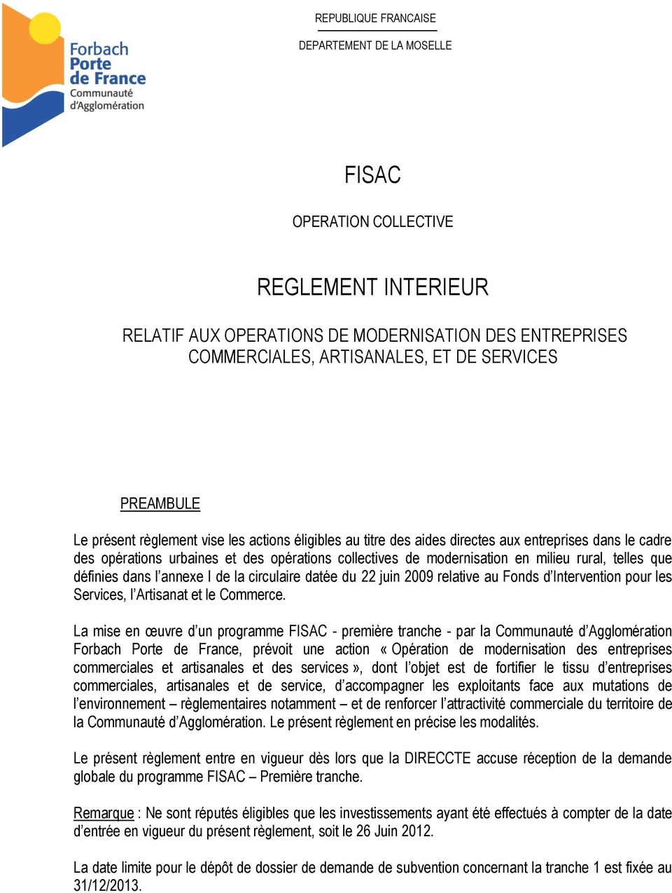 Fisac reglement interieur pdf for Depot reglement interieur