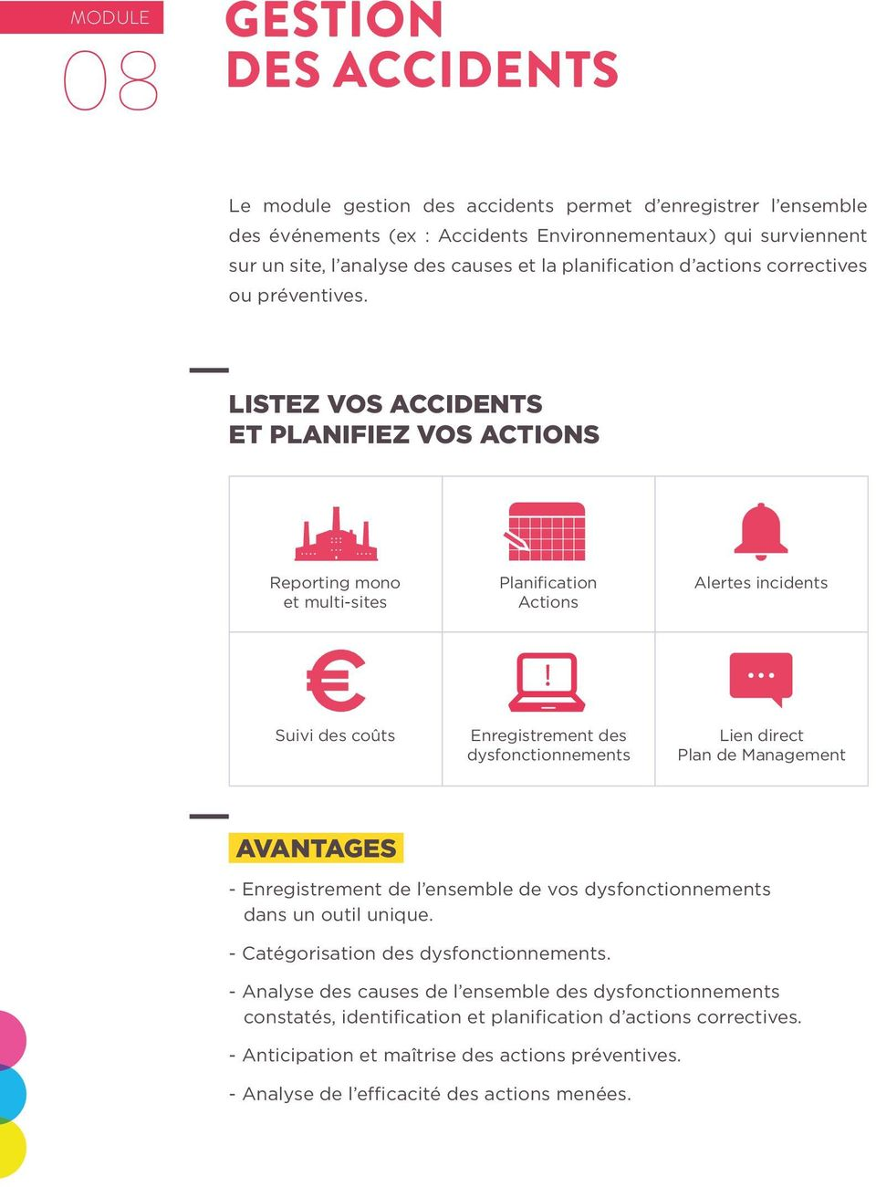 LISTEZ VOS ACCIDENTS ET PLANIFIEZ VOS ACTIONS Reporting mono Planification Actions Alertes incidents Suivi des coûts Enregistrement des dysfonctionnements Lien direct Plan de Management -