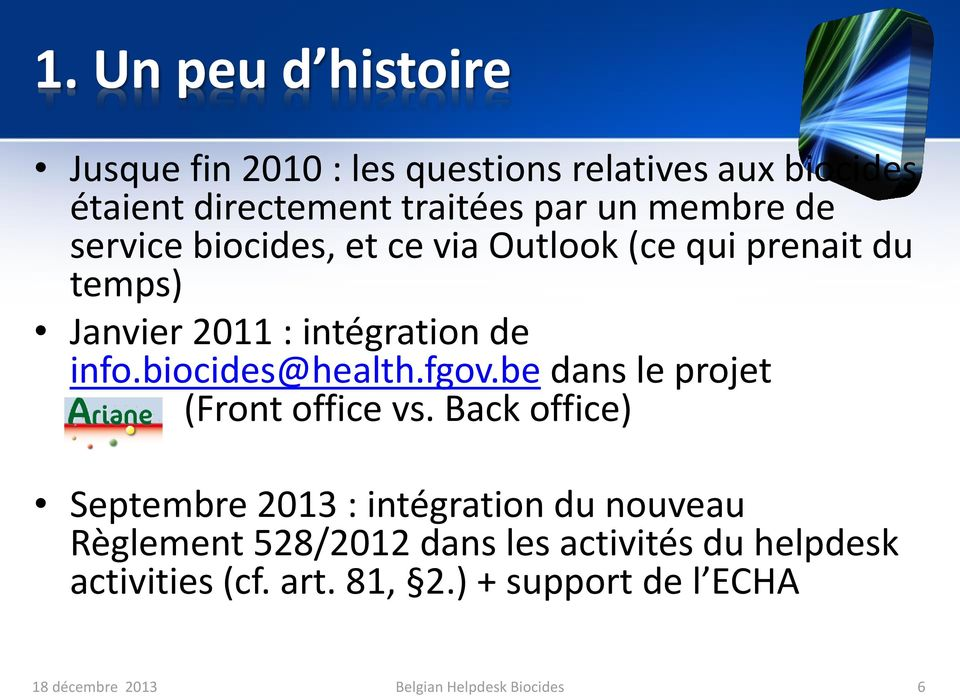 biocides@health.fgov.be dans le projet (Front office vs.