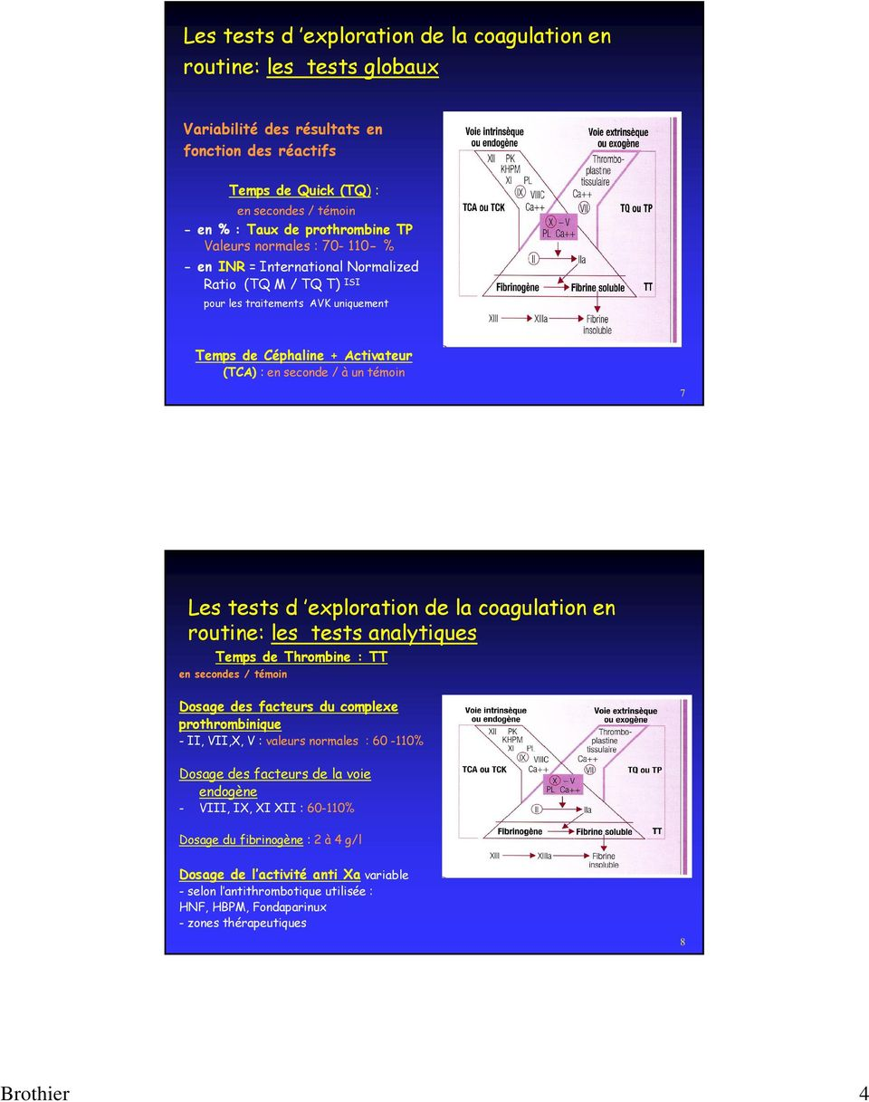 tests d exploration de la coagulation en routine: les tests analytiques Temps de Thrombine : TT en secondes / témoin Dosage des facteurs du complexe prothrombinique - II, VII,X, V : valeurs normales