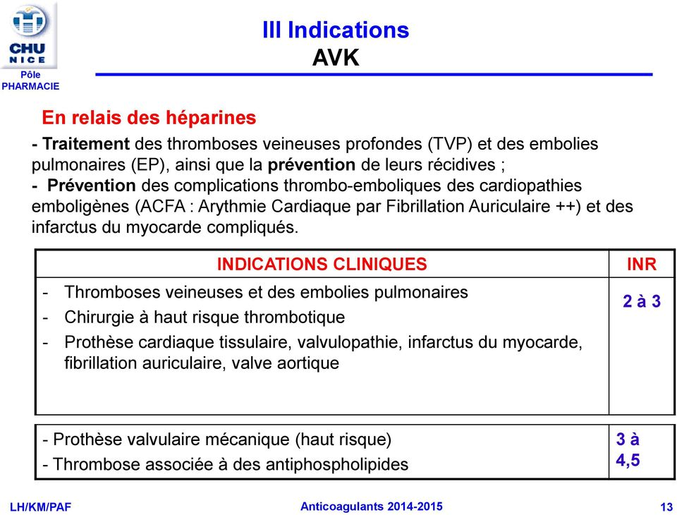 MEDICAMENTS en CARDIOLOGIE. ANTICOAGULANTS (2h) - PDF
