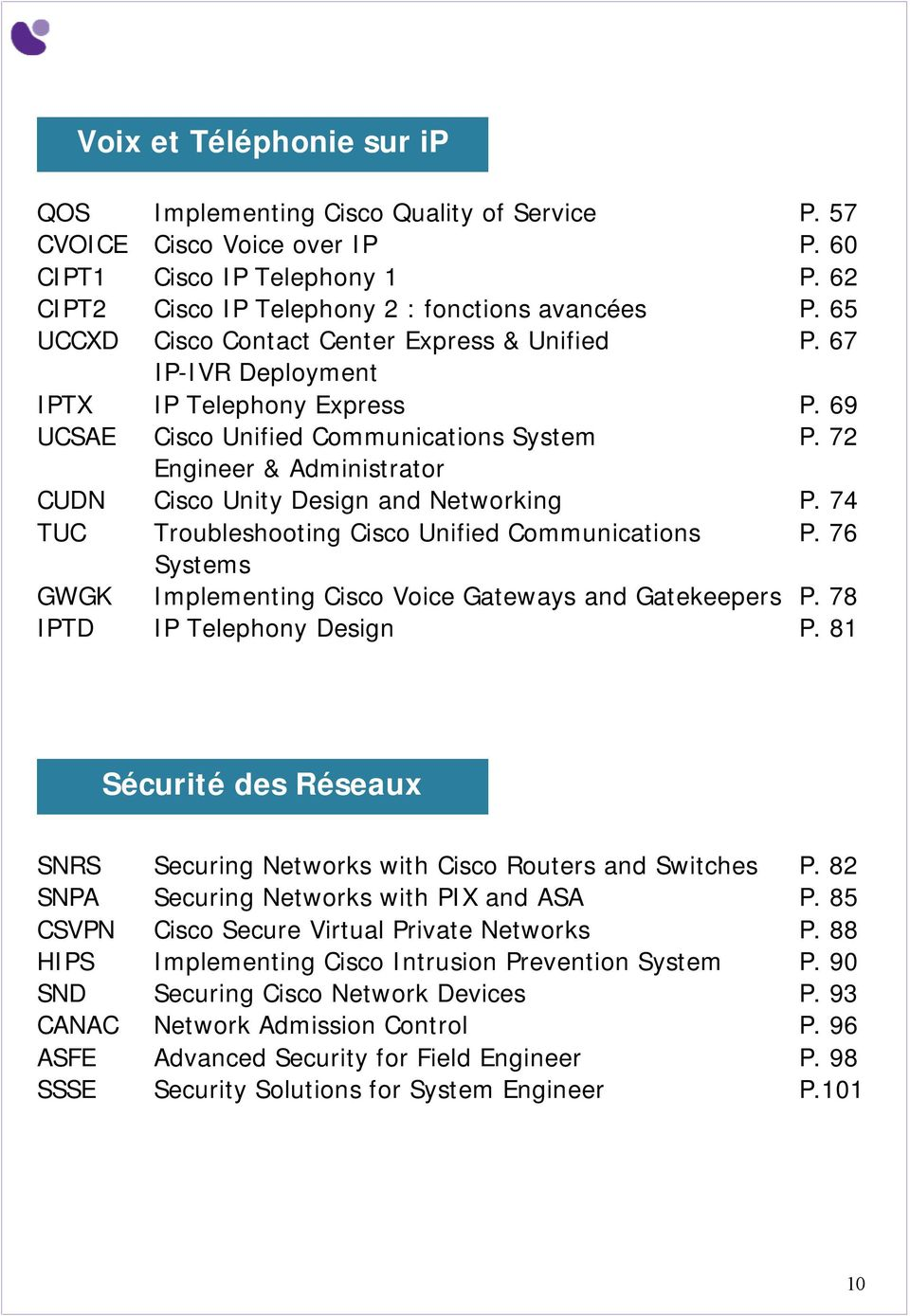 72 Engineer & Administrator CUDN Cisco Unity Design and Networking P. 74 TUC Troubleshooting Cisco Unified Communications P. 76 Systems GWGK Implementing Cisco Voice Gateways and Gatekeepers P.