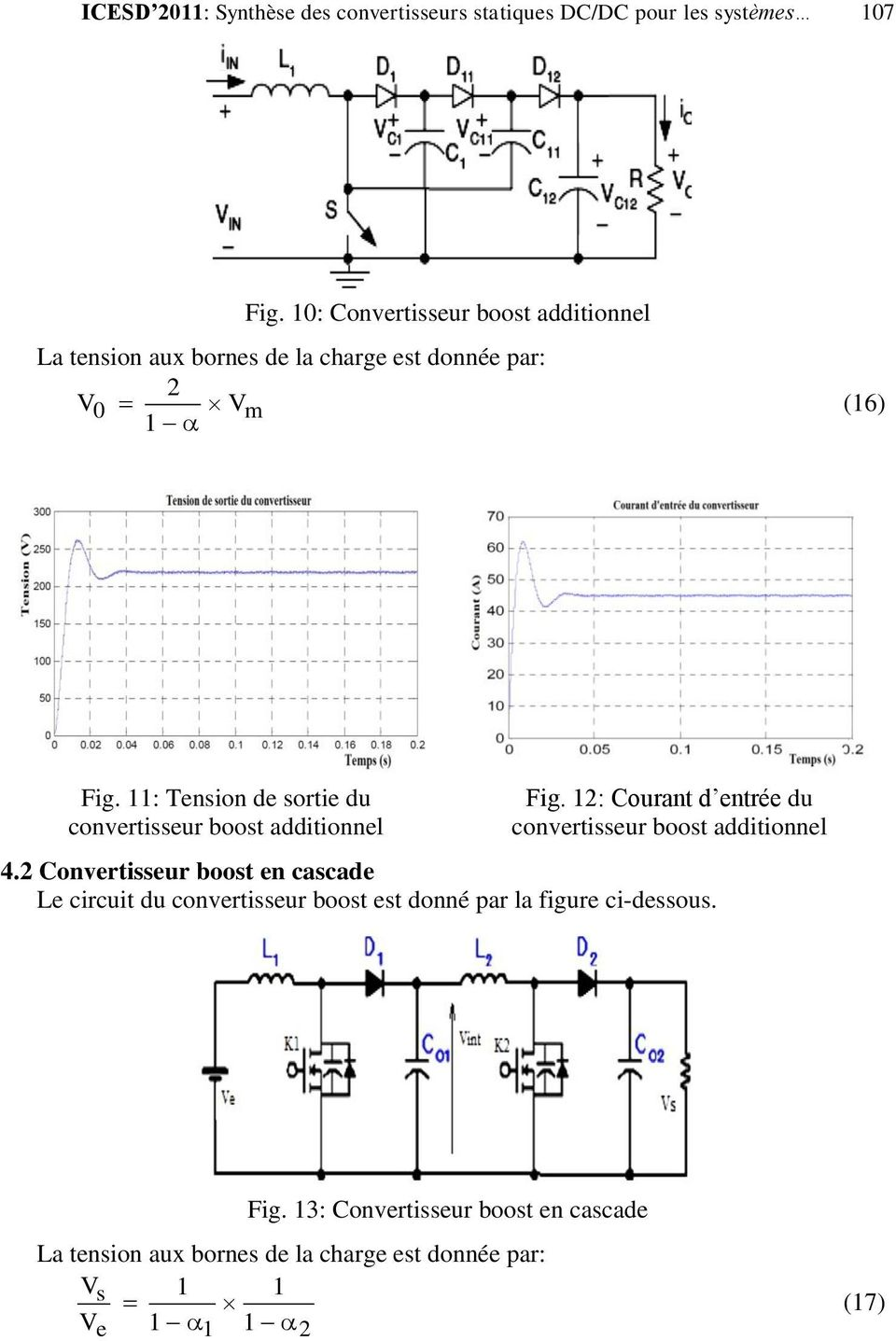 11: Tension de sortie du convertisseur boost additionnel Fig. 12: Courant d entrée du convertisseur boost additionnel 4.