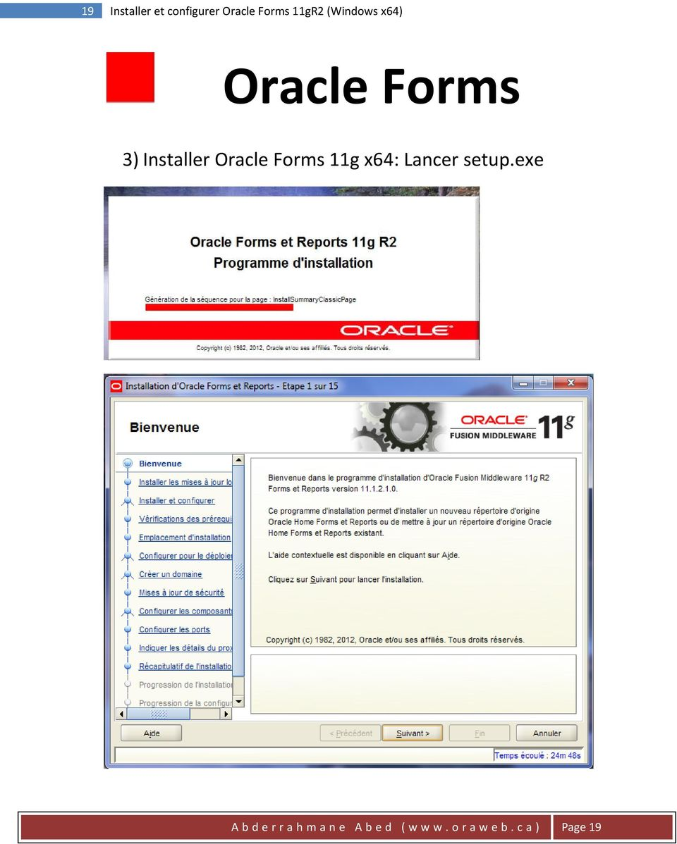Installer Oracle Forms 11g x64: Lancer