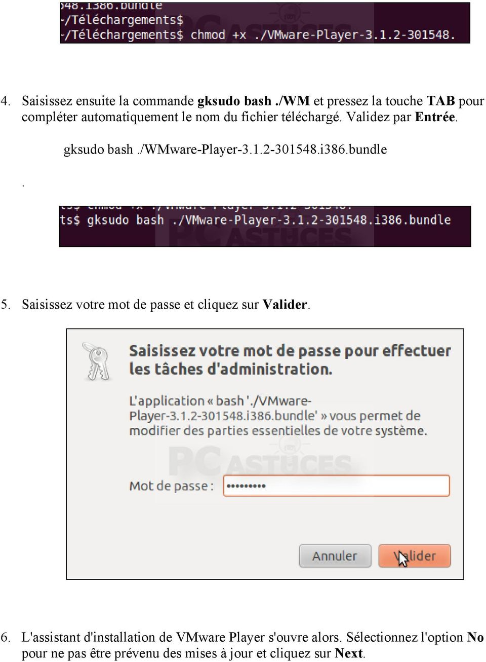 Validez par Entrée.. gksudo bash./wmware-player-3.1.2-301548.i386.bundle 5.