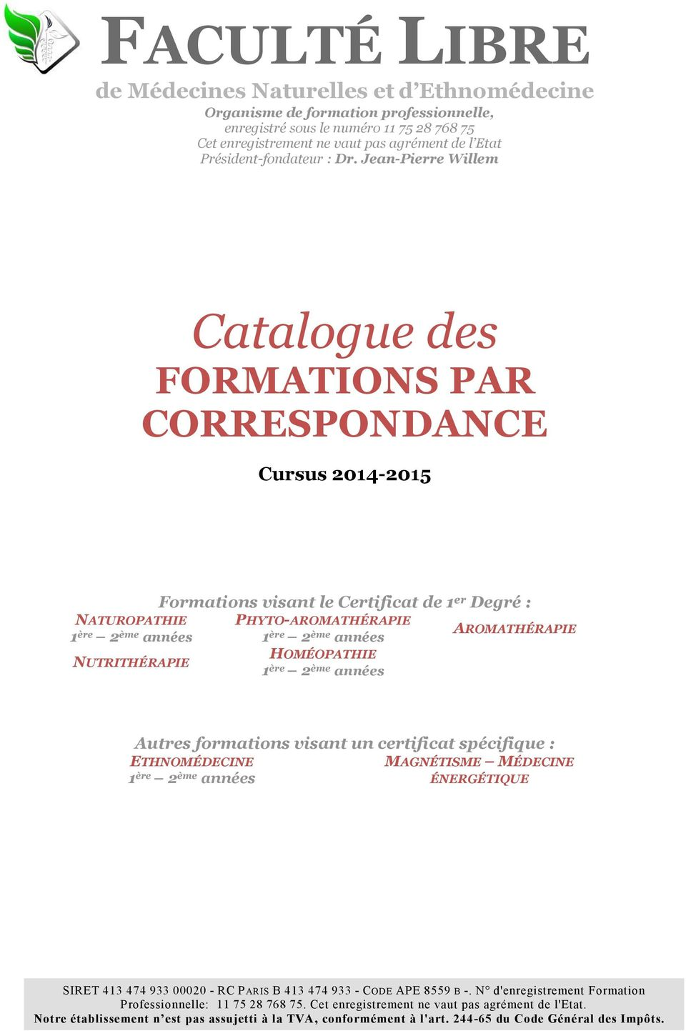 Catalogue des formations par correspondance cursus for Catalogue de plantes par correspondance