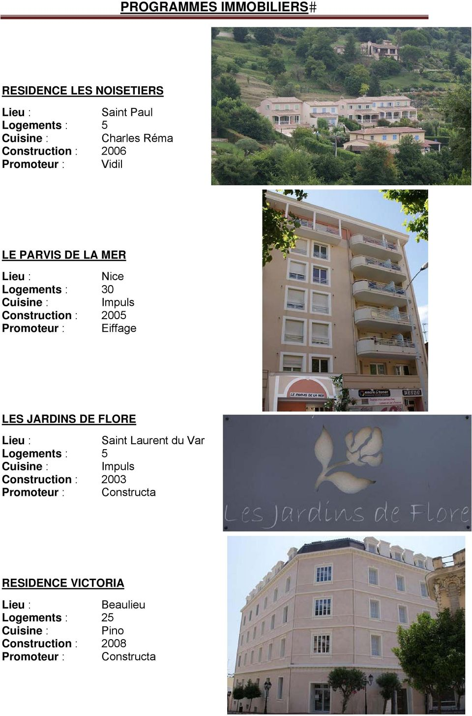 LES JARDINS DE FLORE Saint Laurent du Var Logements : 5 Construction : 2003