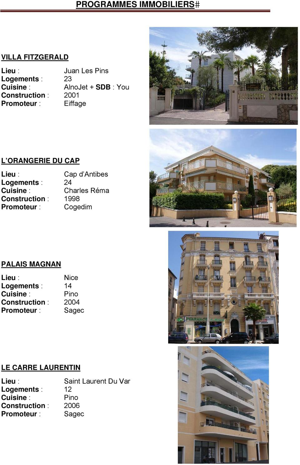 Logements : 24 Construction : 1998 PALAIS MAGNAN Logements : 14