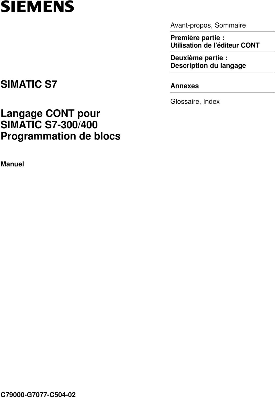 langage SIMATIC S7 Langage CONT pour SIMATIC