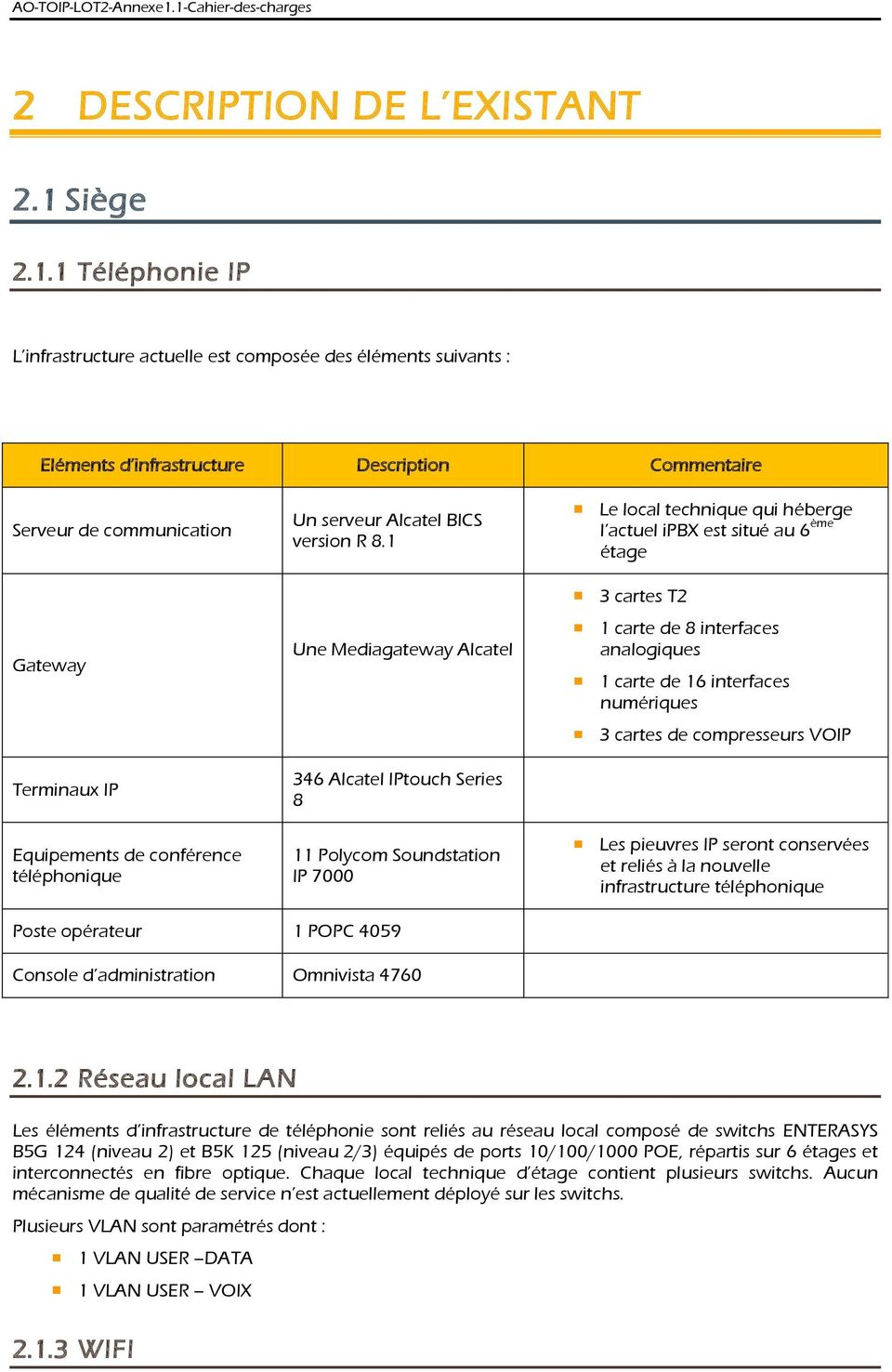 1 Téléphonie IP L infrastructure actuelle est composée des éléments suivants : Eléments d infrastructure Description Commentaire Serveur de communication Gateway Terminaux IP Equipements de