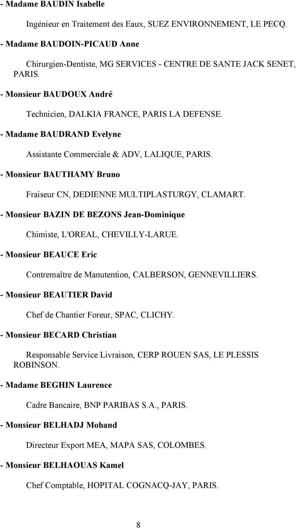 - Monsieur BAUTHAMY Bruno Fraiseur CN, DEDIENNE MULTIPLASTURGY, CLAMART. - Monsieur BAZIN DE BEZONS Jean-Dominique Chimiste, L'OREAL, CHEVILLY-LARUE.