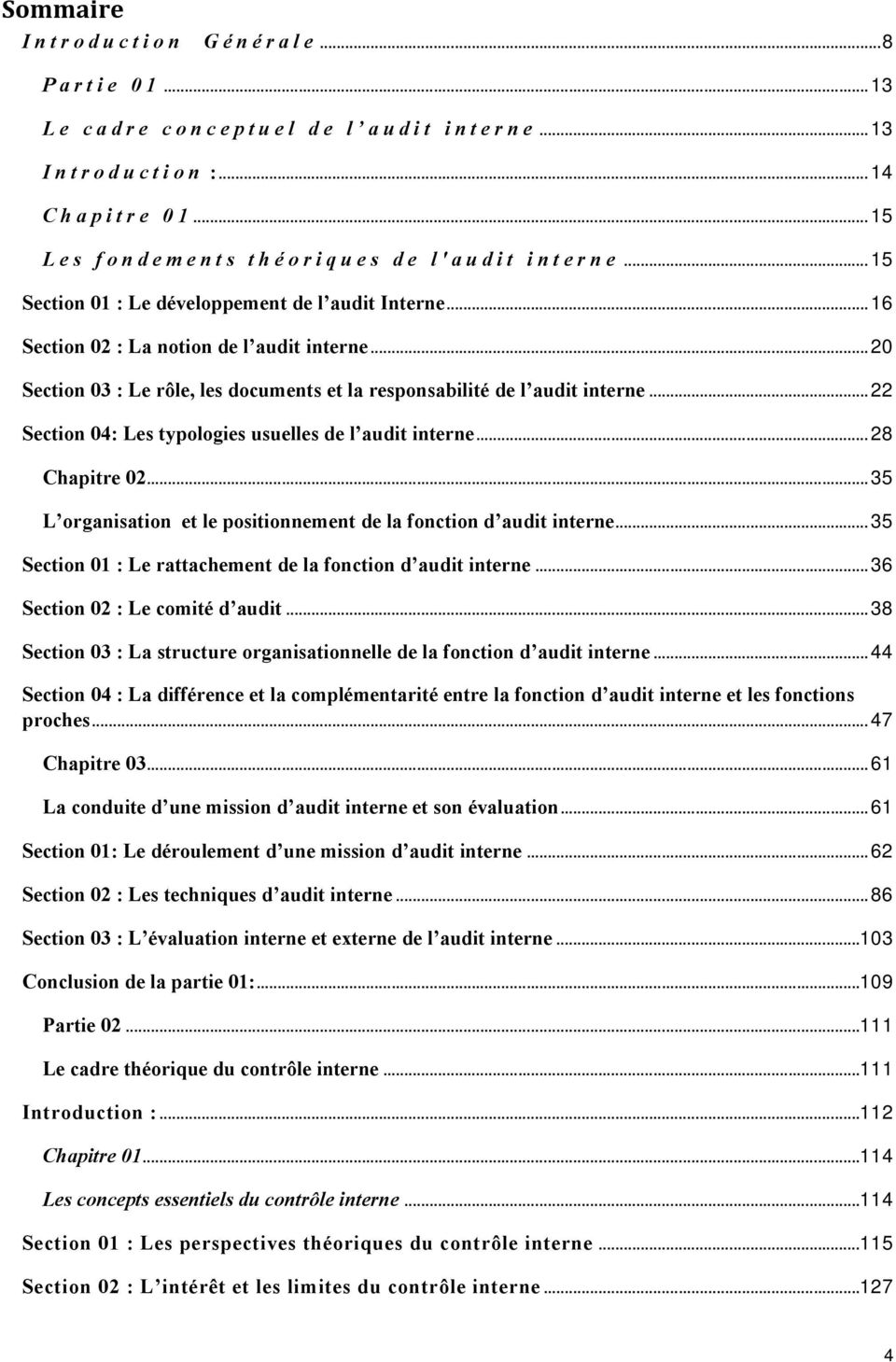 .. 20 Section 03 : Le rôle, les documents et la responsabilité de l audit interne... 22 Section 04: Les typologies usuelles de l audit interne... 28 Chapitre 02.