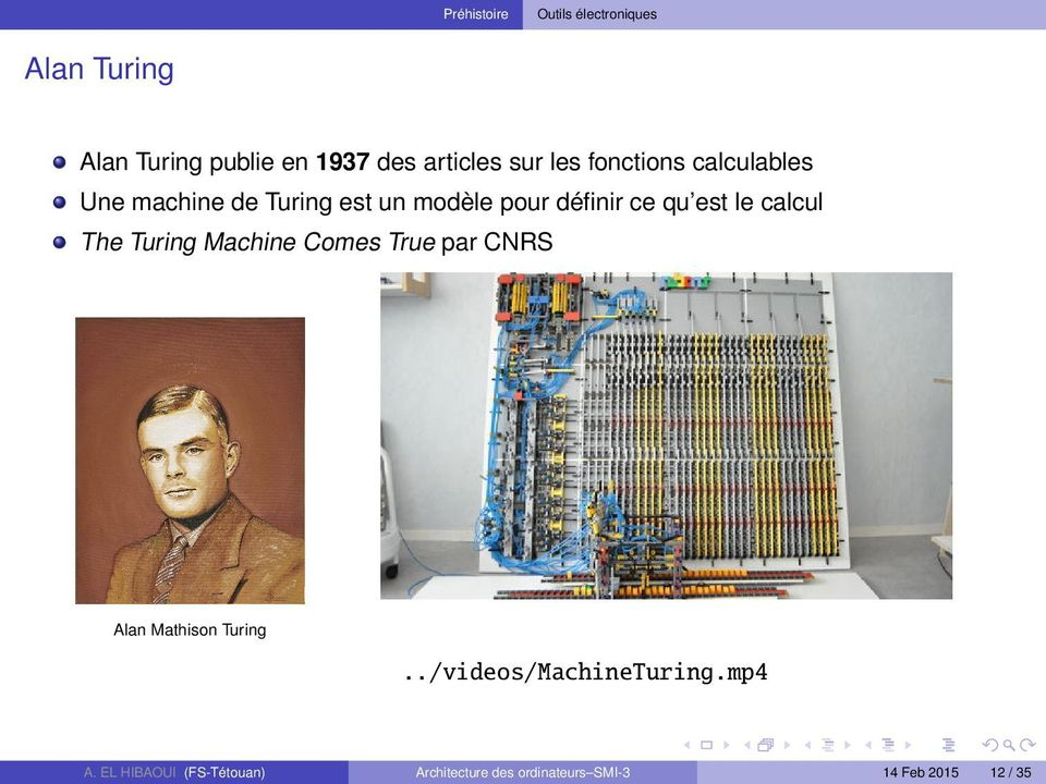 est le calcul The Turing Machine Comes True par CNRS Alan Mathison Turing.
