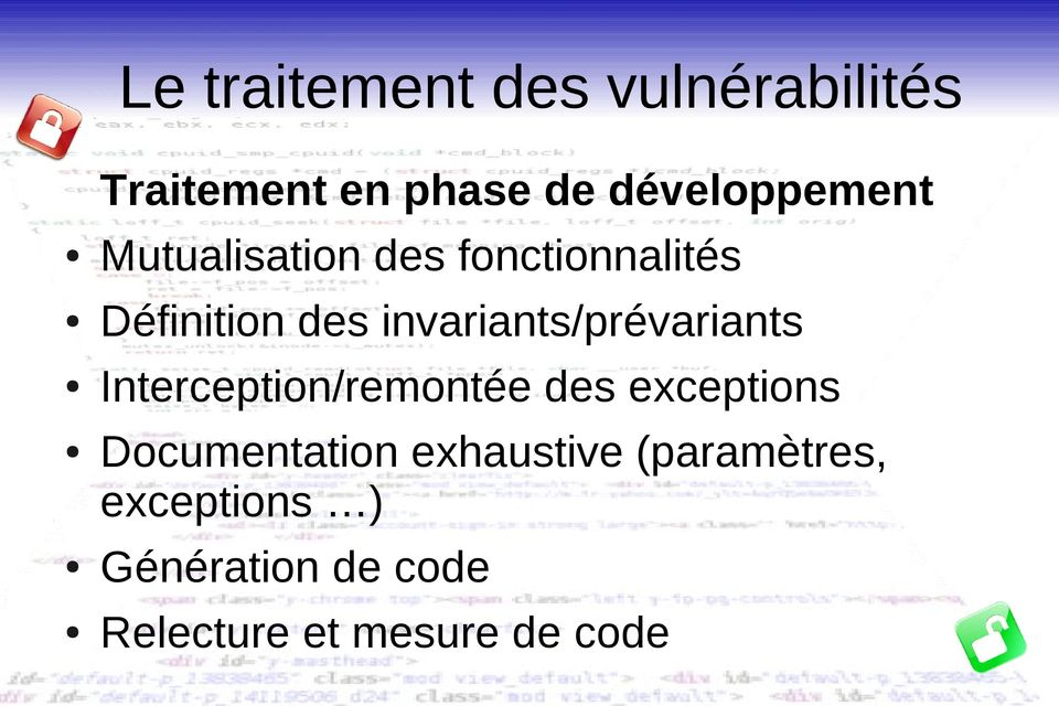 invariants/prévariants Interception/remontée des exceptions
