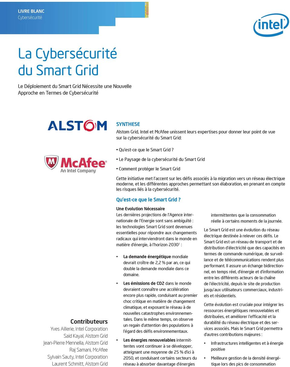 Le Paysage de la cybersécurité du Smart Grid An Intel Company Comment protéger le Smart Grid Cette initiative met l accent sur les défis associés à la migration vers un réseau électrique moderne, et