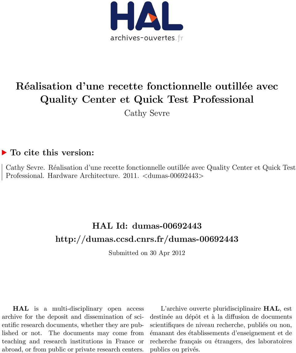 fr/dumas-00692443 Submitted on 30 Apr 2012 HAL is a multi-disciplinary open access archive for the deposit and dissemination of scientific research documents, whether they are published or not.