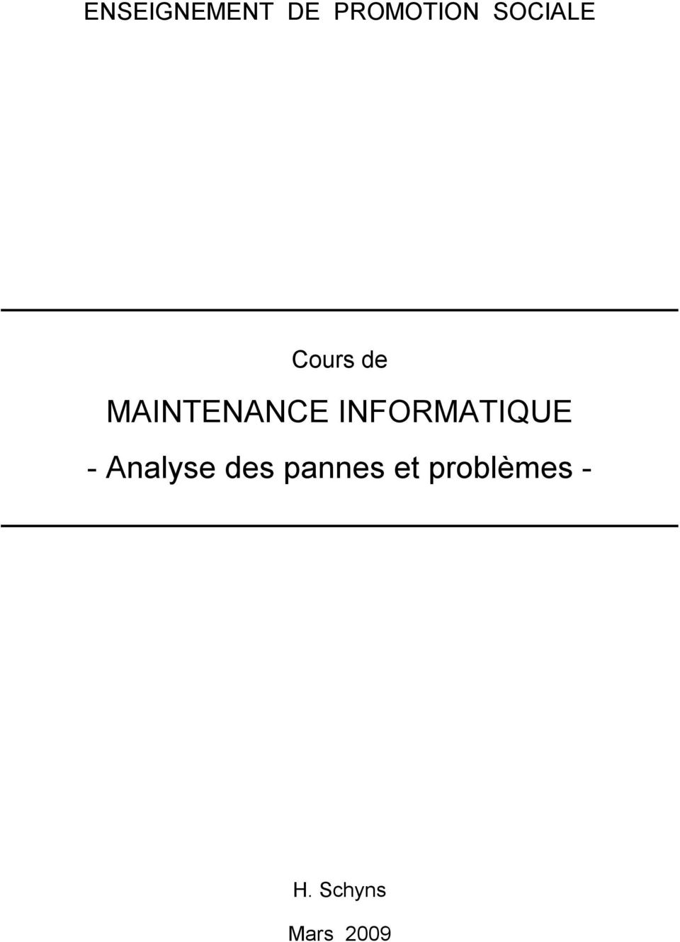 INFORMATIQUE - Analyse des
