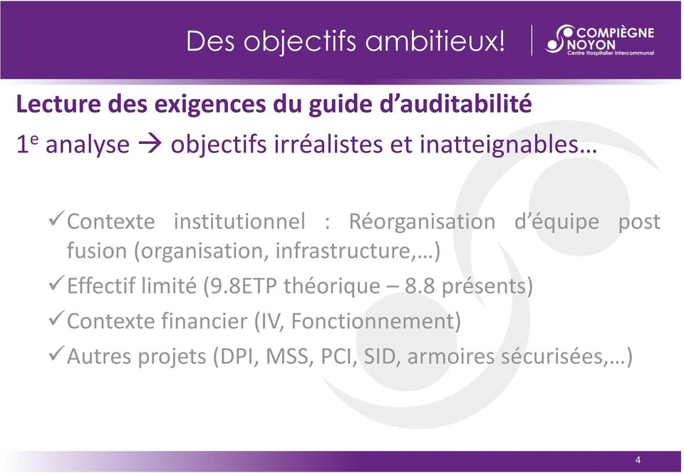 analyseobjectifsirréalistesetinatteignables Contexte institutionnel : Réorganisation d