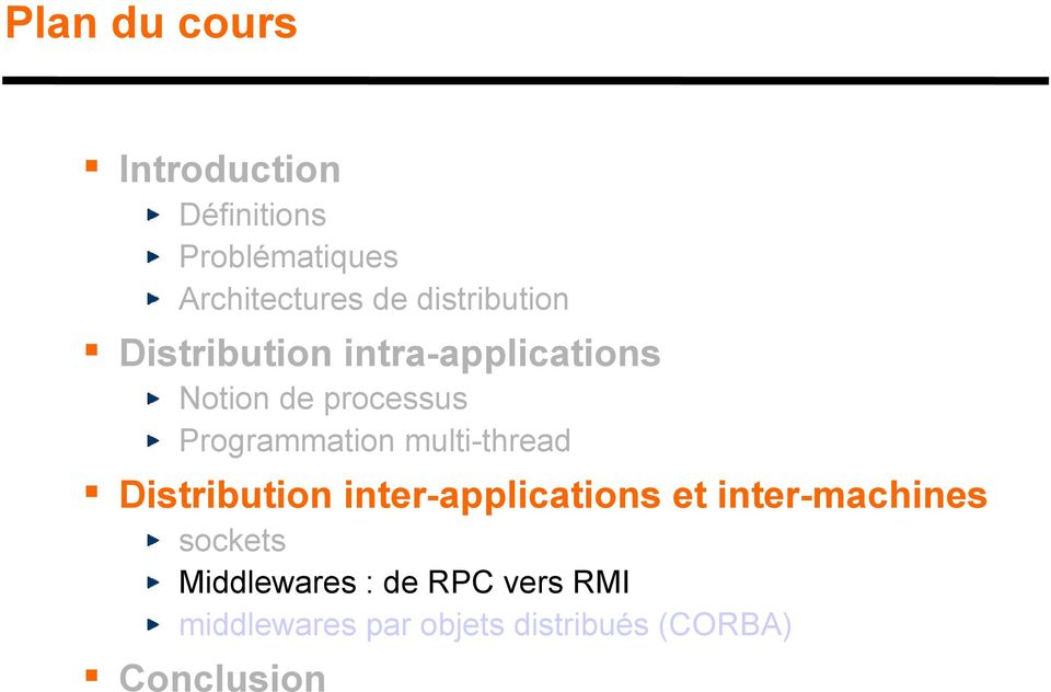 Programmation multi-thread Distribution inter-applications et