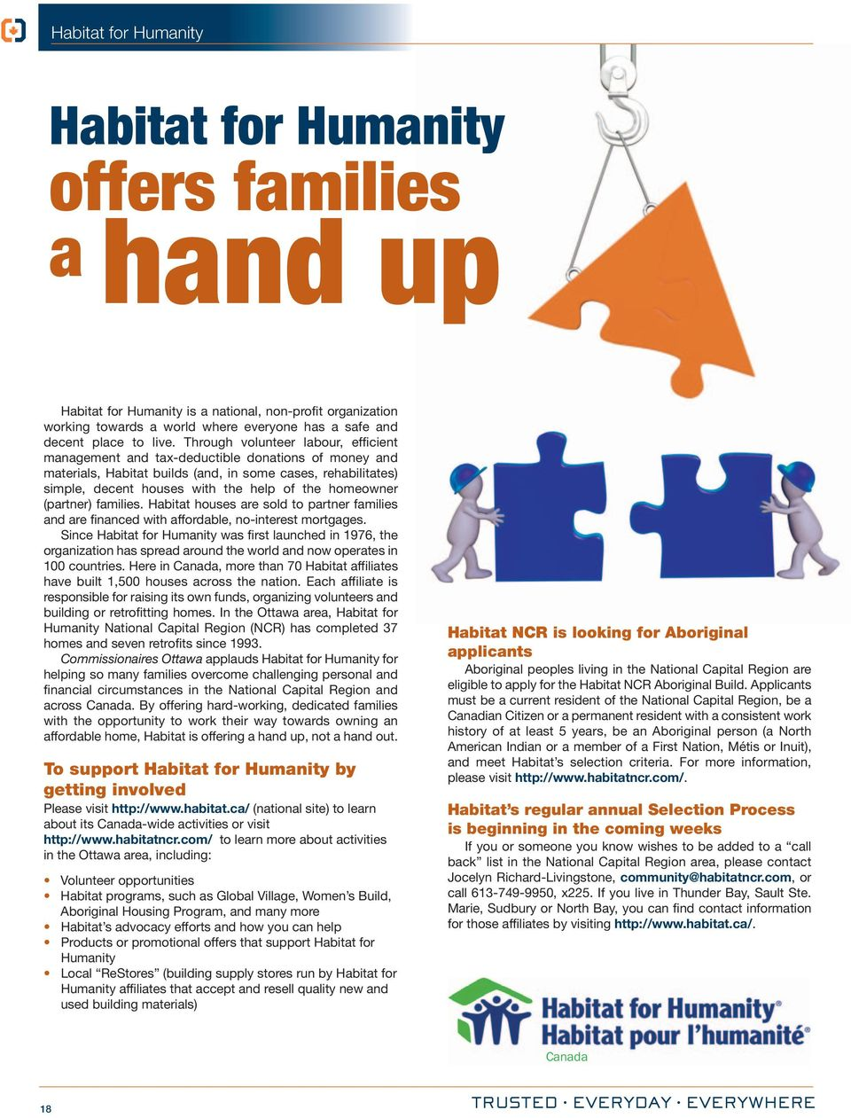 homeowner (partner) families. Habitat houses are sold to partner families and are financed with affordable, no-interest mortgages.