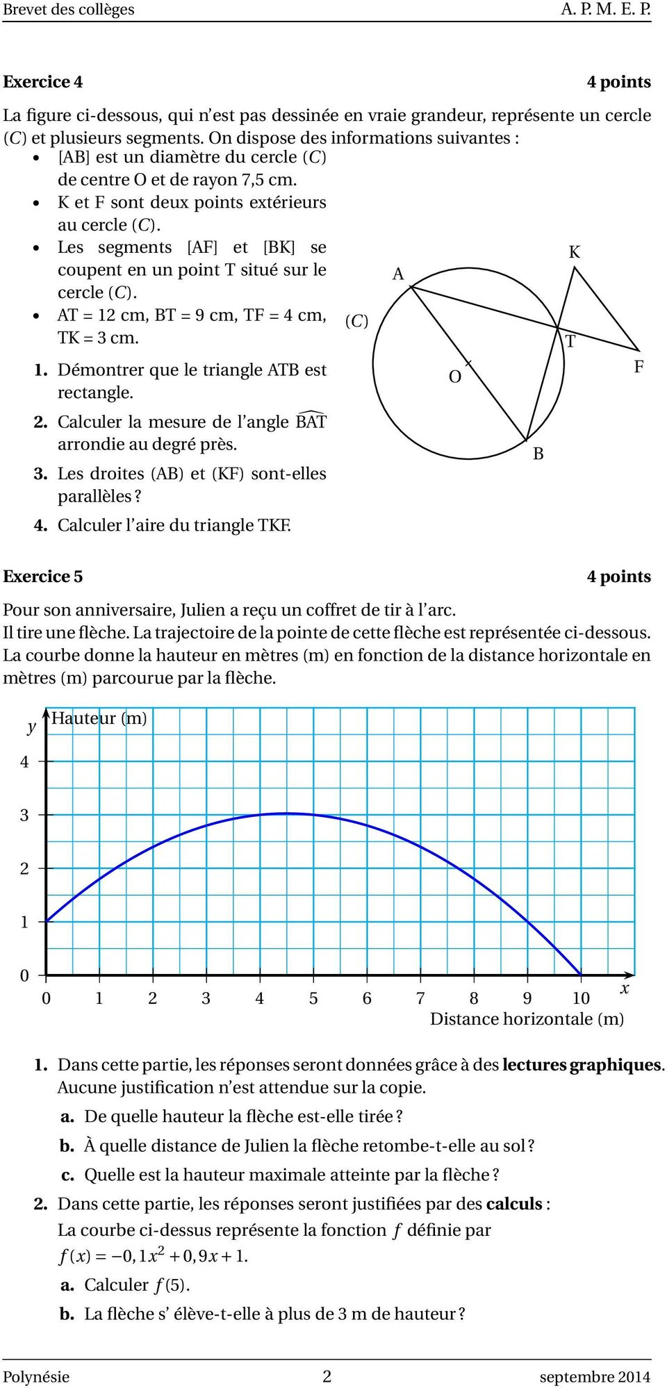 Les segments [AF] et [BK] se K coupent en un point T situé sur le A cercle (C). AT = 12 cm, BT = 9 cm, TF = 4 cm, (C) TK = 3 cm. T 1. Démontrer que le triangle ATB est rectangle. 2.