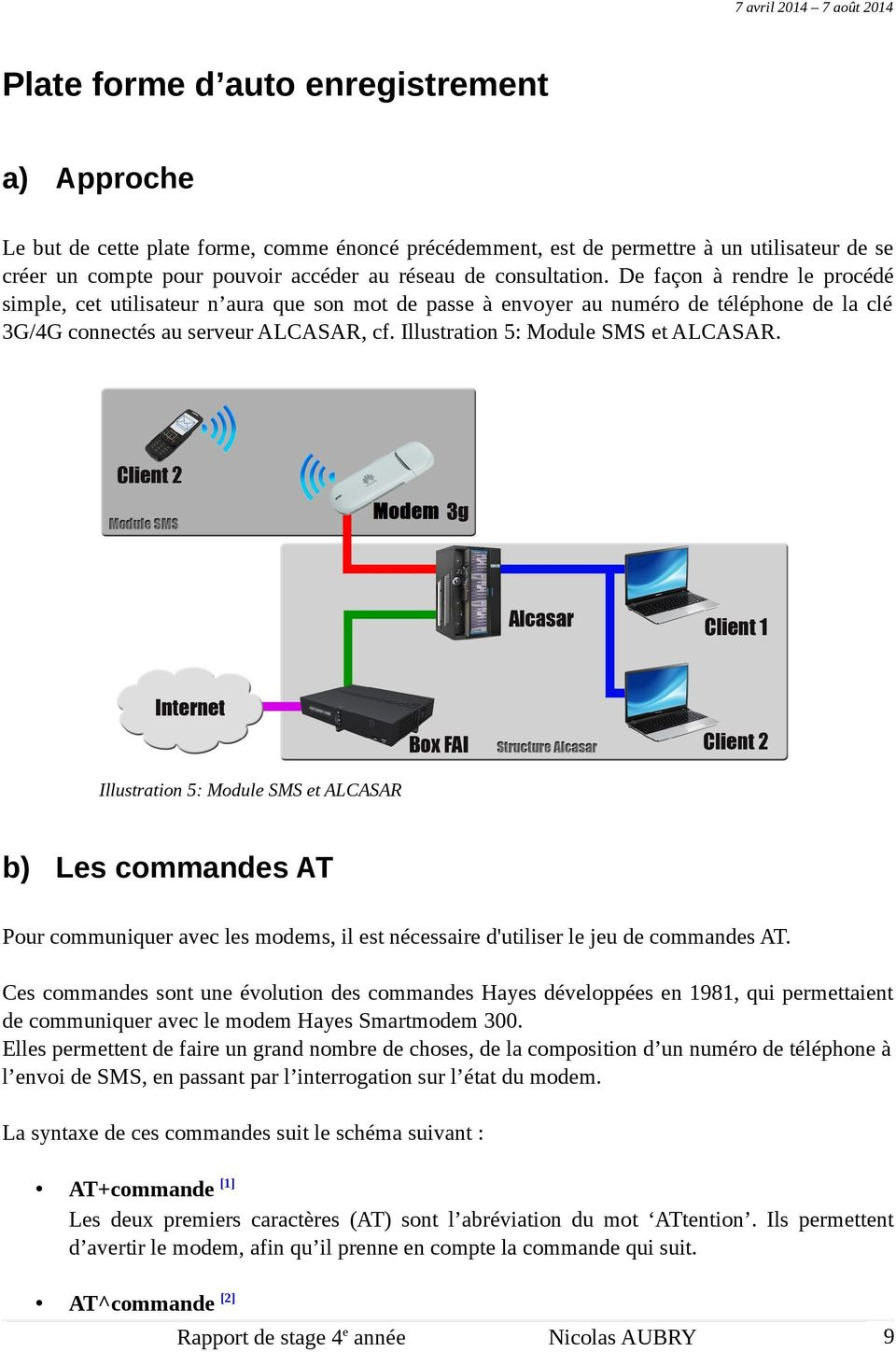 Illustration 5: Module SMS et ALCASAR. Illustration 5: Module SMS et ALCASAR b) Les commandes AT Pour communiquer avec les modems, il est nécessaire d'utiliser le jeu de commandes AT.