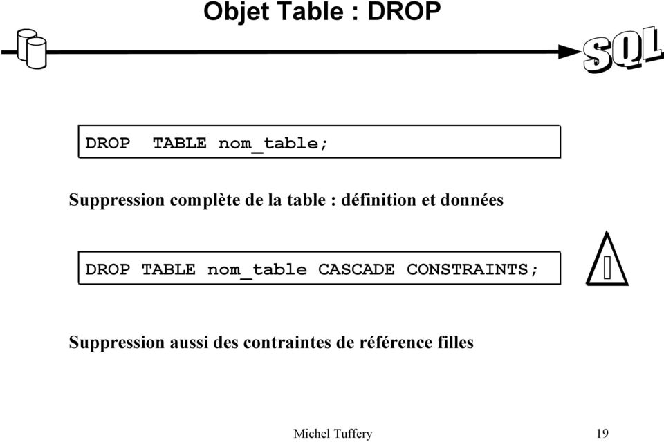 TABLE nom_table CASCADE CONSTRAINTS; Suppression
