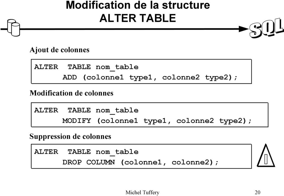 ALTER TABLE nom_table MODIFY (colonne1 type1, colonne2 type2); Suppression