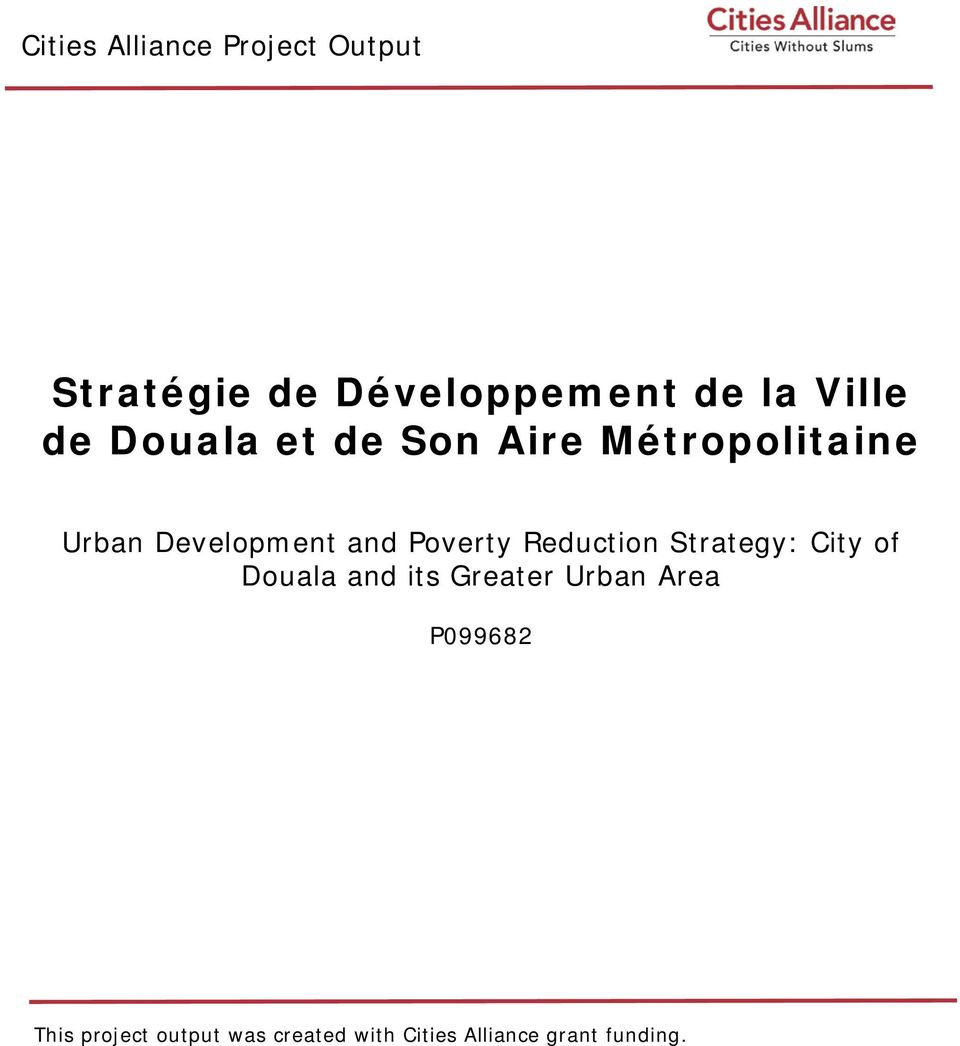 Reduction Strategy: City of Douala and its Greater Urban Area P099682