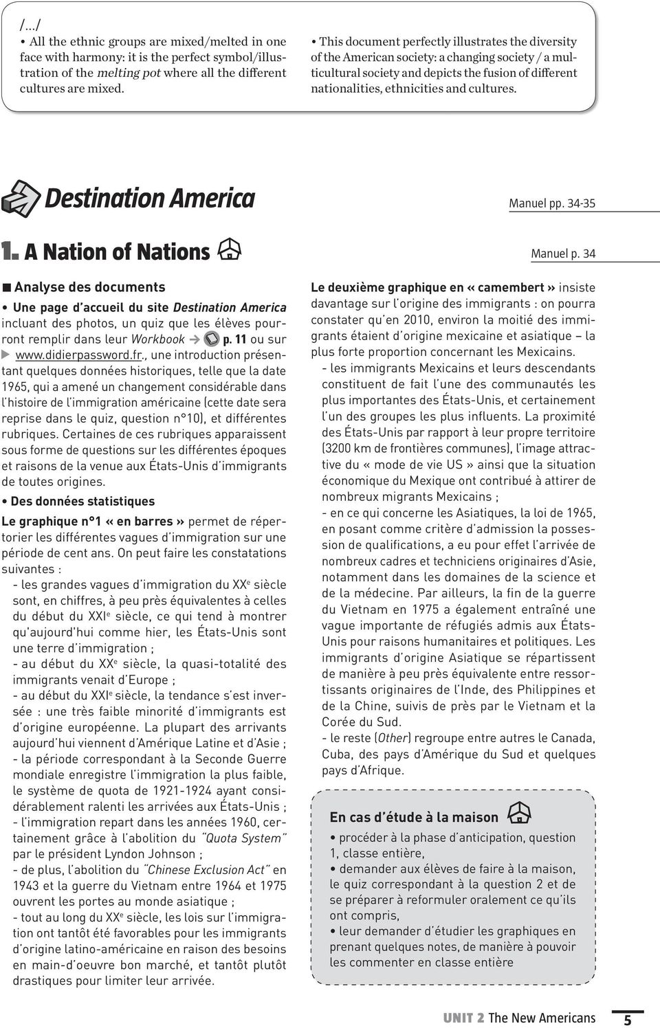 Destination America Manuel pp. 34-35 1. A Nation of Nations Manuel p.