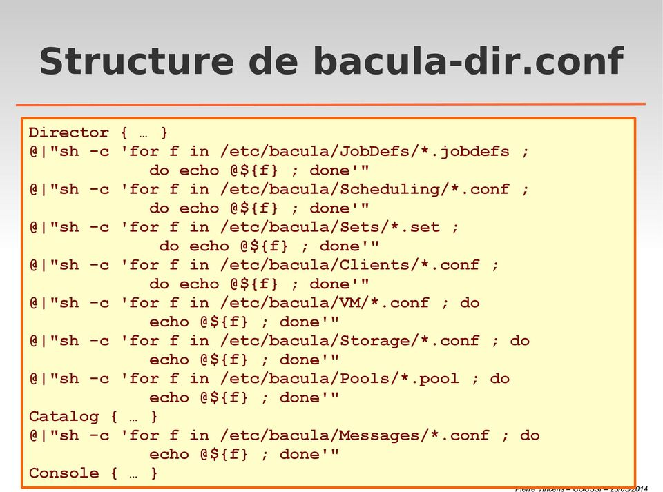 "set ; do echo @${f ; done'"" @ ""sh -c 'for f in /etc/bacula/clients/*.conf ; do echo @${f ; done'"" @ ""sh -c 'for f in /etc/bacula/vm/*."