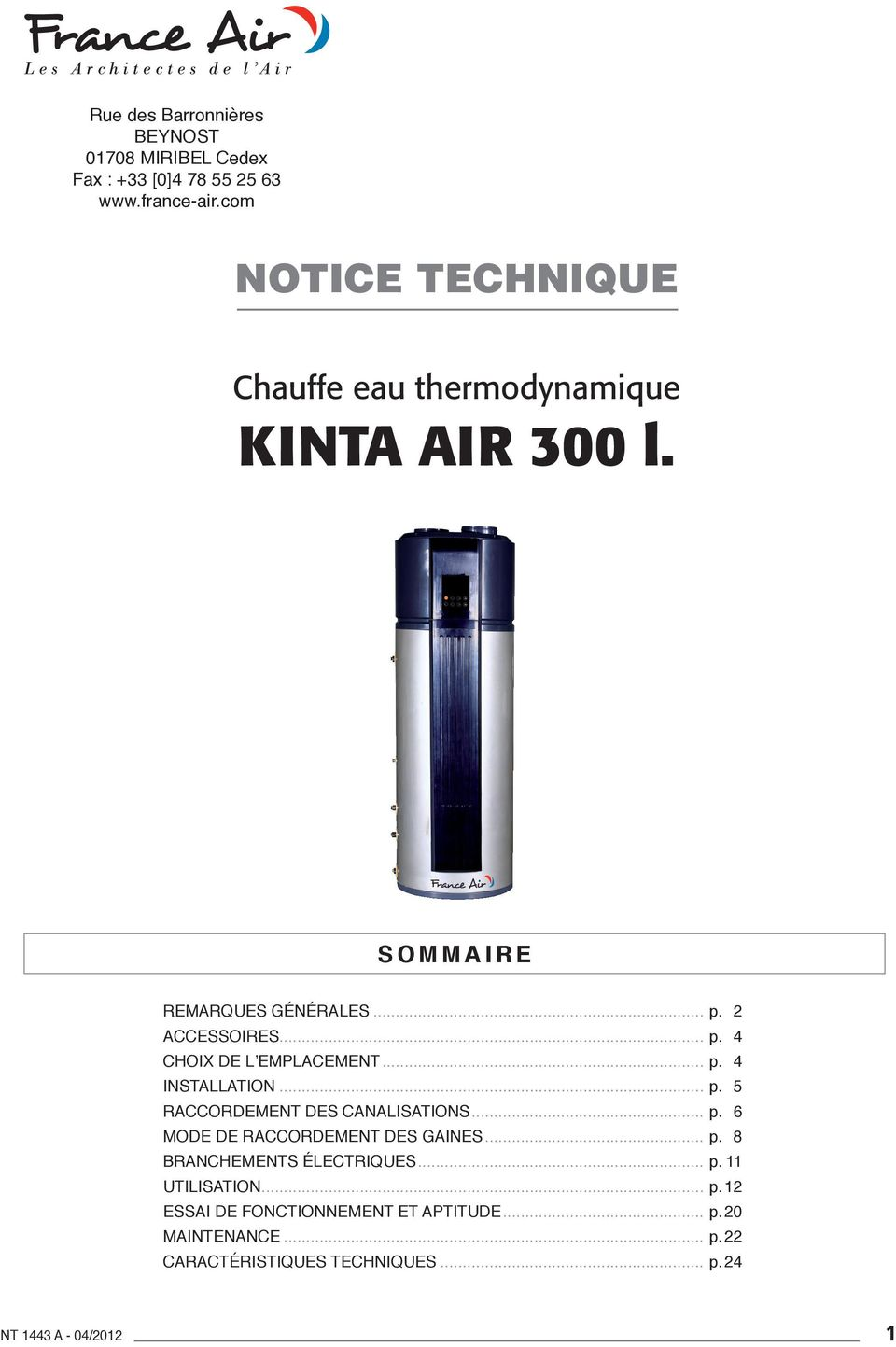 notice technique chauffe eau thermodynamique kinta air 300 l sommaire pdf. Black Bedroom Furniture Sets. Home Design Ideas