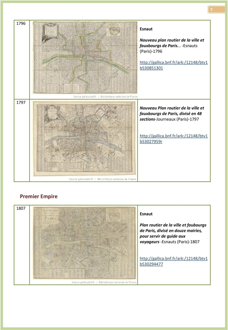 divisé en 48 sections-journeaux (Paris)-1797 b53027959r Premier Empire 1807 Esnaut Plan routier